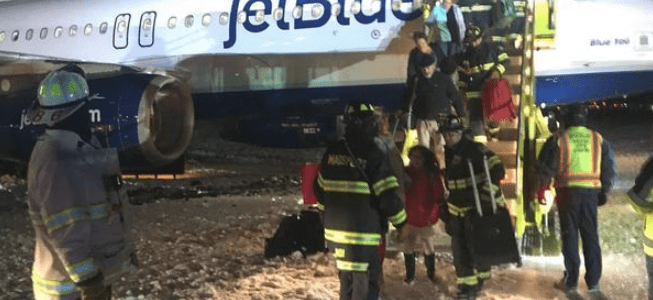 A JetBlue Plane Goes off the Taxiway at Boston's Airport